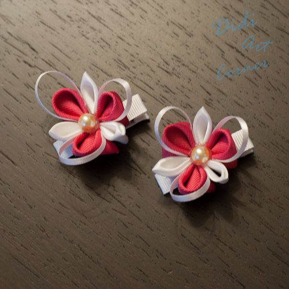 White and Pink Spring Kanzashi Flower with a by DidiArtCorner, $9.99