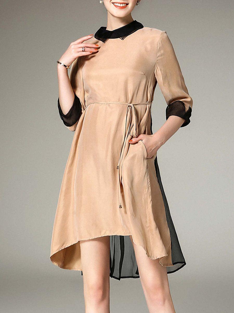 Adorewe stylewe midi dressesdesigner elenyun shirt collar