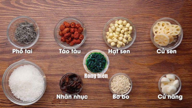 Nguyen Liệu Chinh Nấu Che Sam Bổ Lượng Bạch Quả Nhan Nhục Rong Biển Nau Gia Vị Sấm