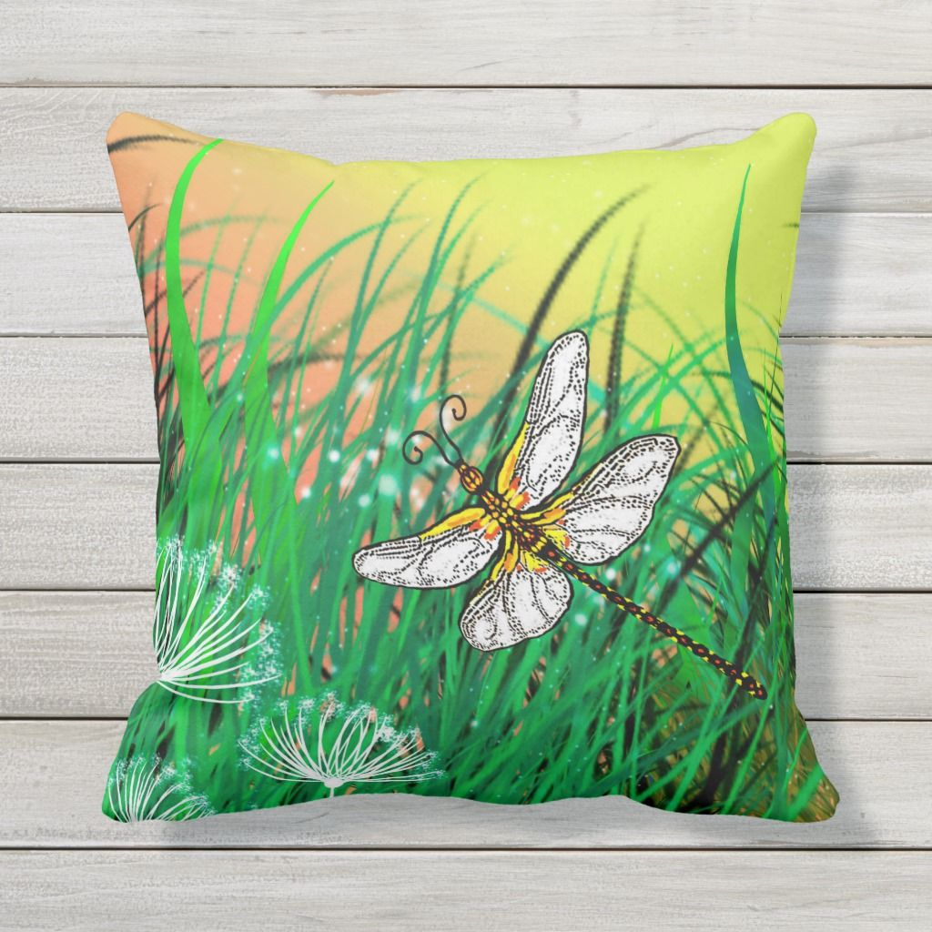 Dragonfly On Green Background Throw Pillow Zazzle Com Throw