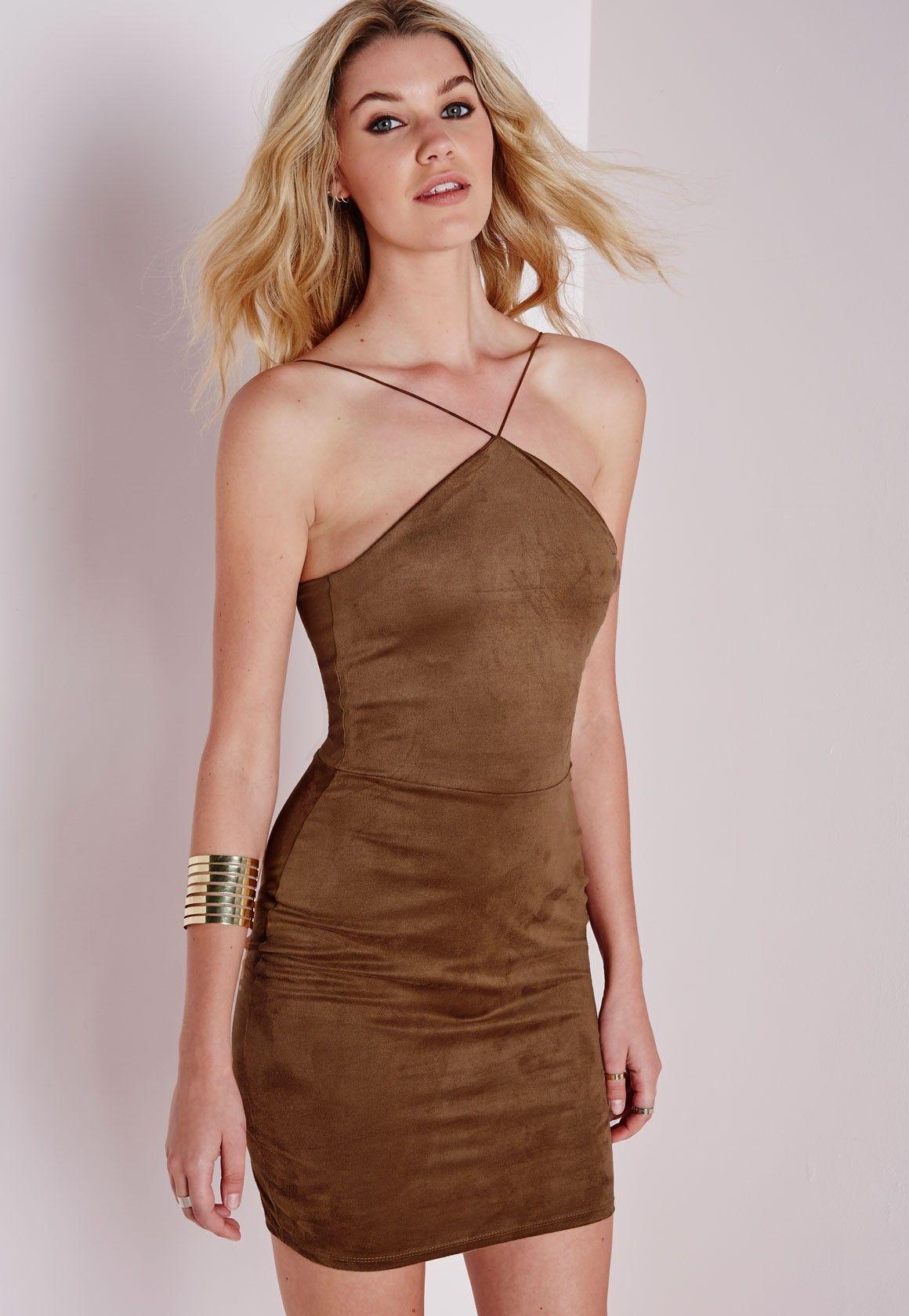 Missguided Faux Suede Halter Bodycon Dress Tan Bodycon Dress Women Dress Online Brown Halter Dress [ 1680 x 1160 Pixel ]