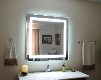 Photos Of  x Front Lighted LED Mirror over a Vanity
