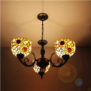 8 inch european country vintage sunflower pattern glass shade 8 inch european country vintage sunflower pattern glass shade indoor tiffany chandelier bedroom pendant ceiling light mozeypictures Gallery