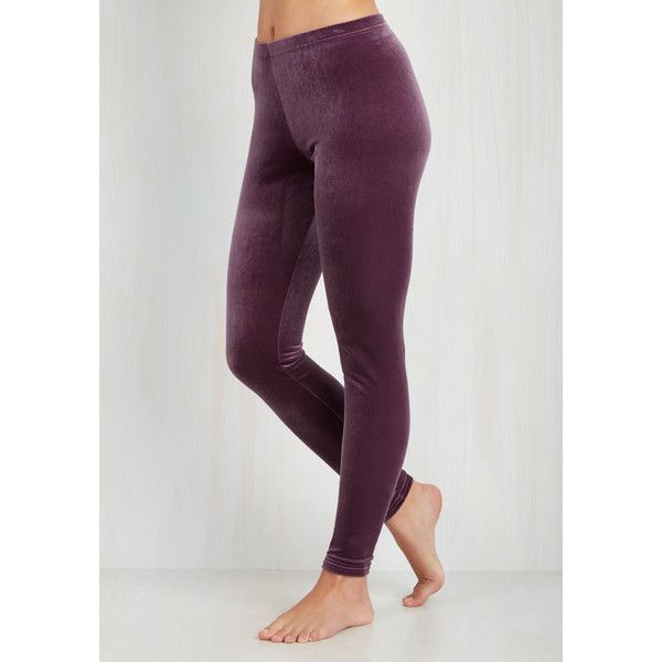 80s Skinny City Adventure Velvet Leggings ($15) ❤ liked on Polyvore featuring pants, leggings, 80s pants, skinny pants, purple velvet leggings, purple leggings and stretch waist pants