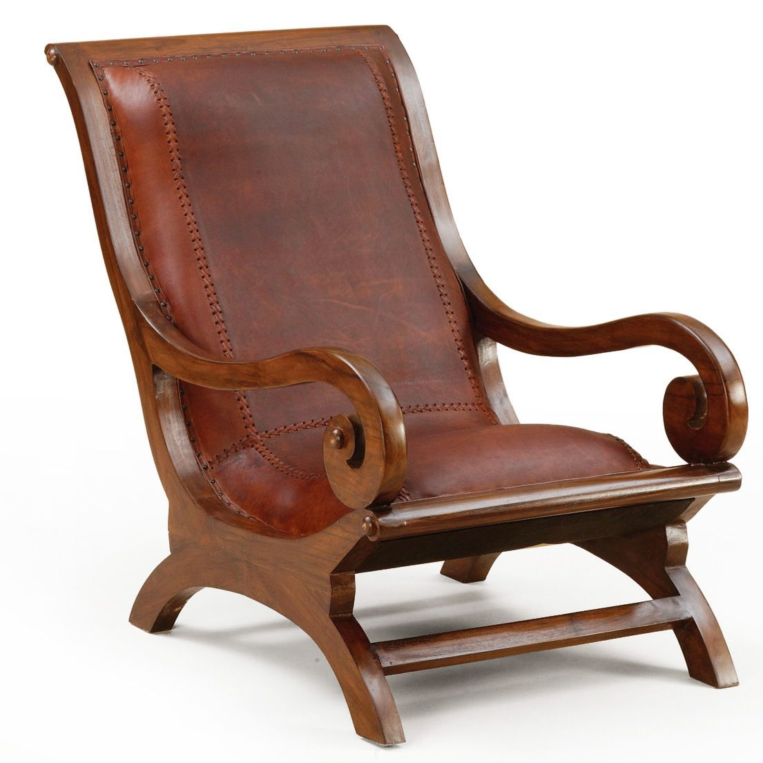 Lazy chair leather seat handmade of teak wood Couch