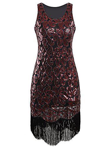 139a7bea7975 Amazon.com: Vijiv Women's 1920s Gastby Sequined Embellished Fringed Paisley  Flapper Dress: Clothing