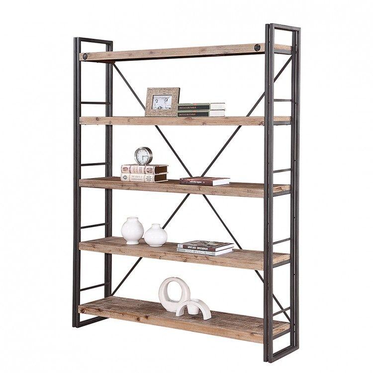 Stellingkast ruw hout en zwart metaal Interieur
