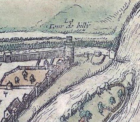 Plan de Paris vers 1530 Braun et Hohenberg - Tour de Billy, sur l'enceinte de Charles V, détruite en 1538 - Boulevard Bourdon aujourd'hui