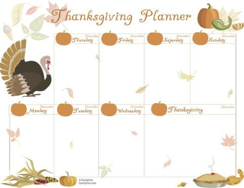 Printable Planner for the Week of Thanksgiving