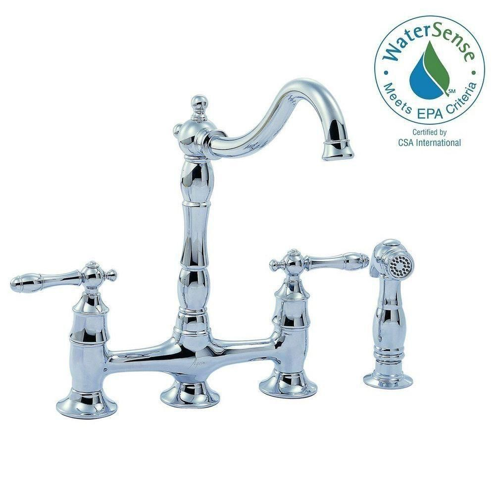 Glacier Bay Lyndhurst 2 Handle Bridge Kitchen Faucet Side Sprayer In  Chrome 852N 05501   The Home Depot