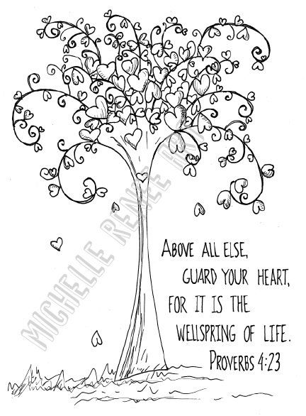 Bible Verse Coloring Page: Proverbs 4.23 Digital Instant