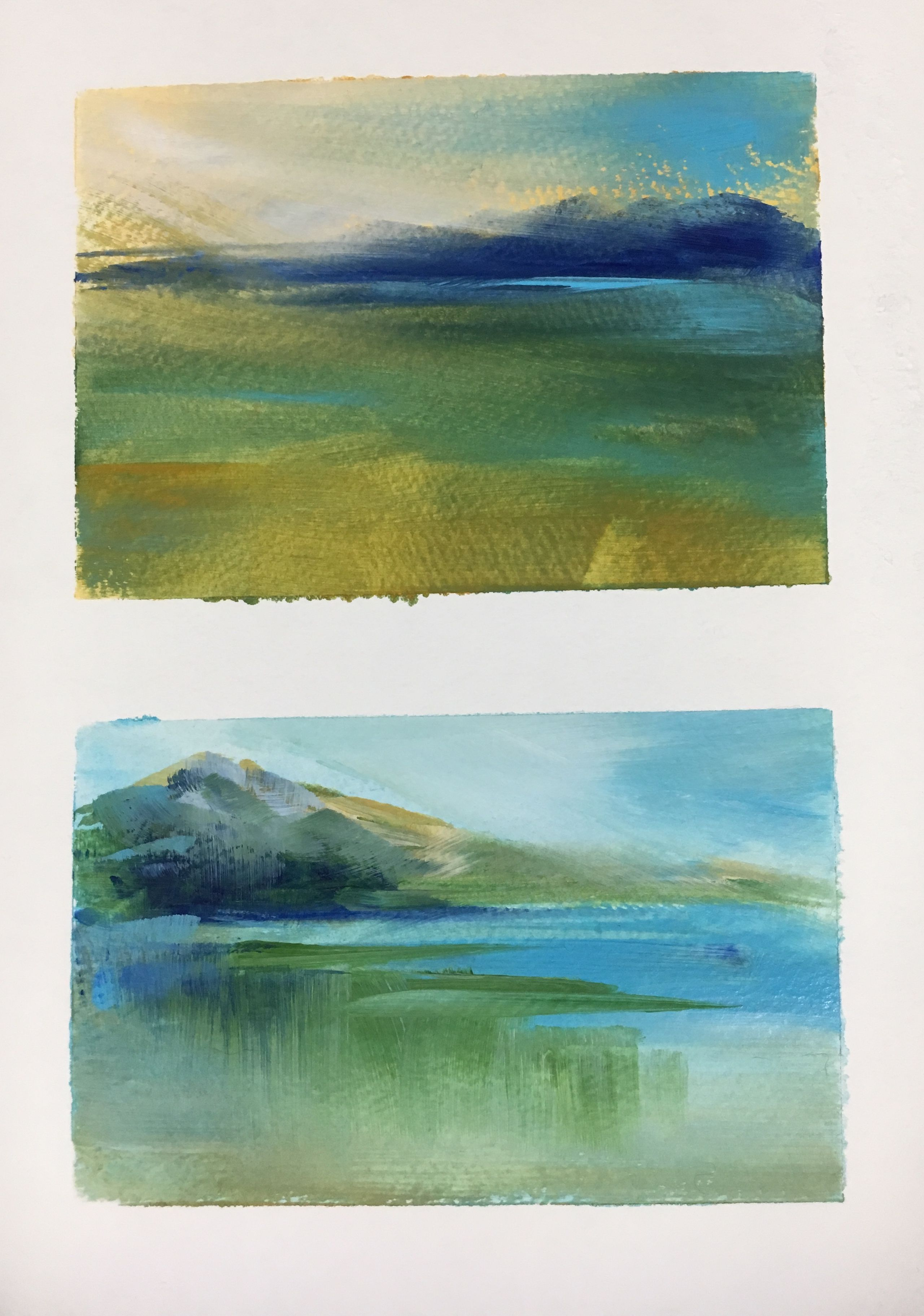 Playing with a limited palette of (Chrome Green Hue, Ultramarine Blue, Light Blue Permanent, Yellow Oxide, and Titanium White). Acrylic on paper. #abstractlandscape #atmosphericpainting #canadianartist #contemporaryartist #landscapeartist #modernart #fineart #contemporarypainting #artofinstagram #interiordesigners #studioart #creativehomeowner #affordableart