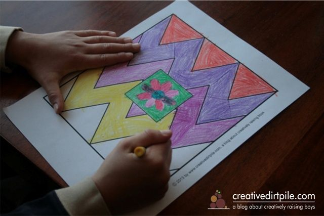 Mother's Day coloring page (chevron pattern) for kids to color for their moms.