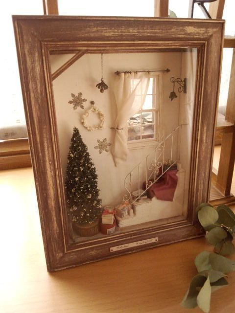 N Original Room Boxes Pinterest Christmas Shadow Boxes Miniature Christmas Christmas Decor Diy