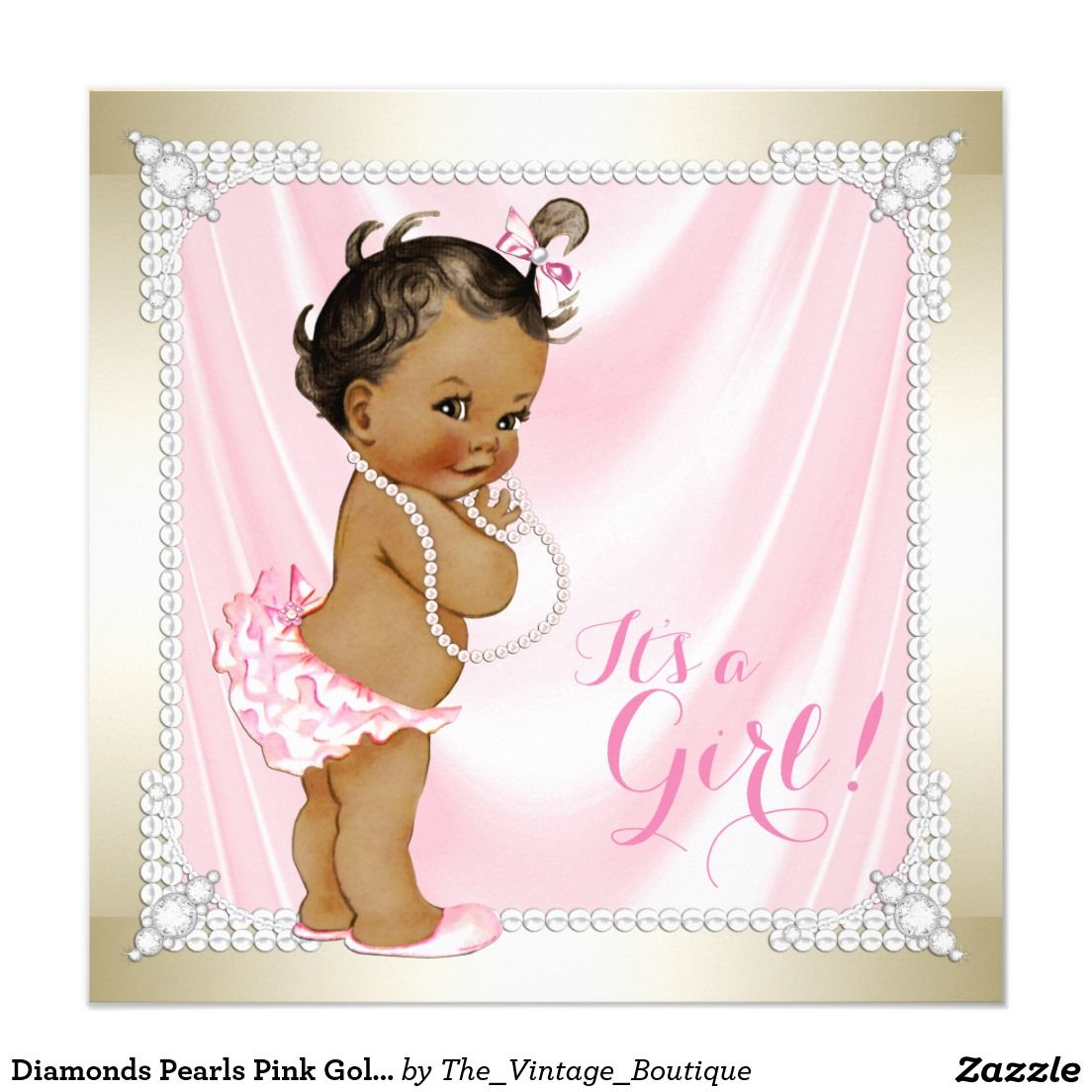 Diamonds Pearls Pink Gold Ethnic Girl Baby Shower Card   Shower ...