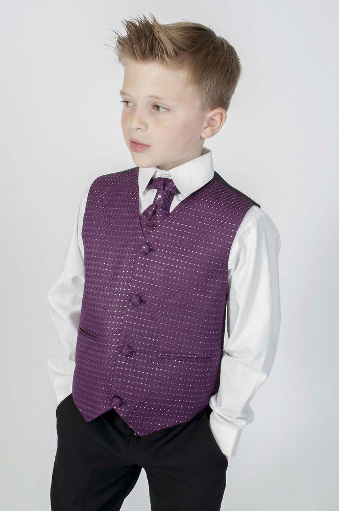Boys Suits Black Purple 4 Piece Suit Wedding Page Boy Baby Formal ...