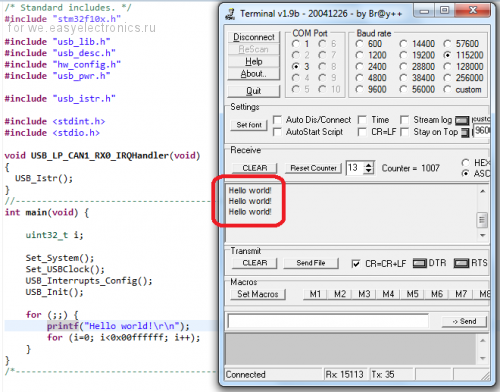 STM32 - the organization of the virtual COM-port / STM32