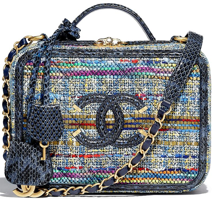 cf0003cb893 Chanel Multicolor Tweed Watersnake CC Filigree Vanity Case Bag Style code   A93343 Size  6.3′ x 8.3′ x 3.1′ inches Price   4500 USD, €4250 euro, £3850  GBP, ...