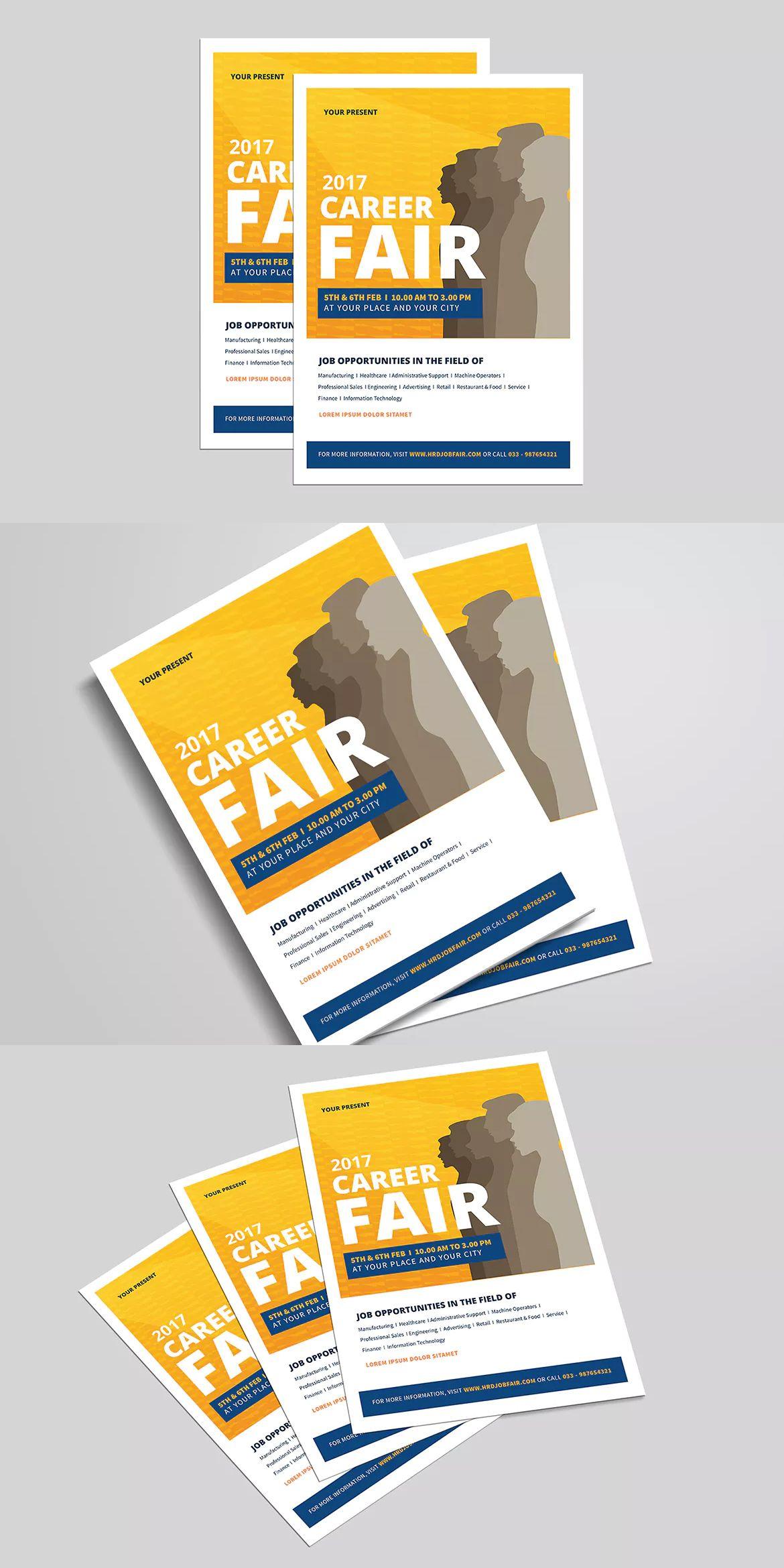 clean job fair event flyer template ai psd flyer poster design