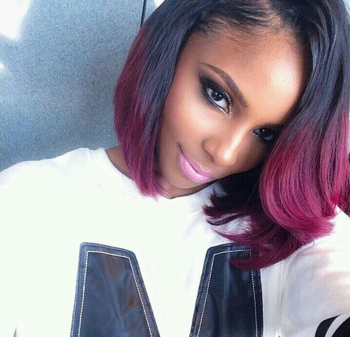 Black And Burgundy High Low Bob Natural Hair Styles Weave