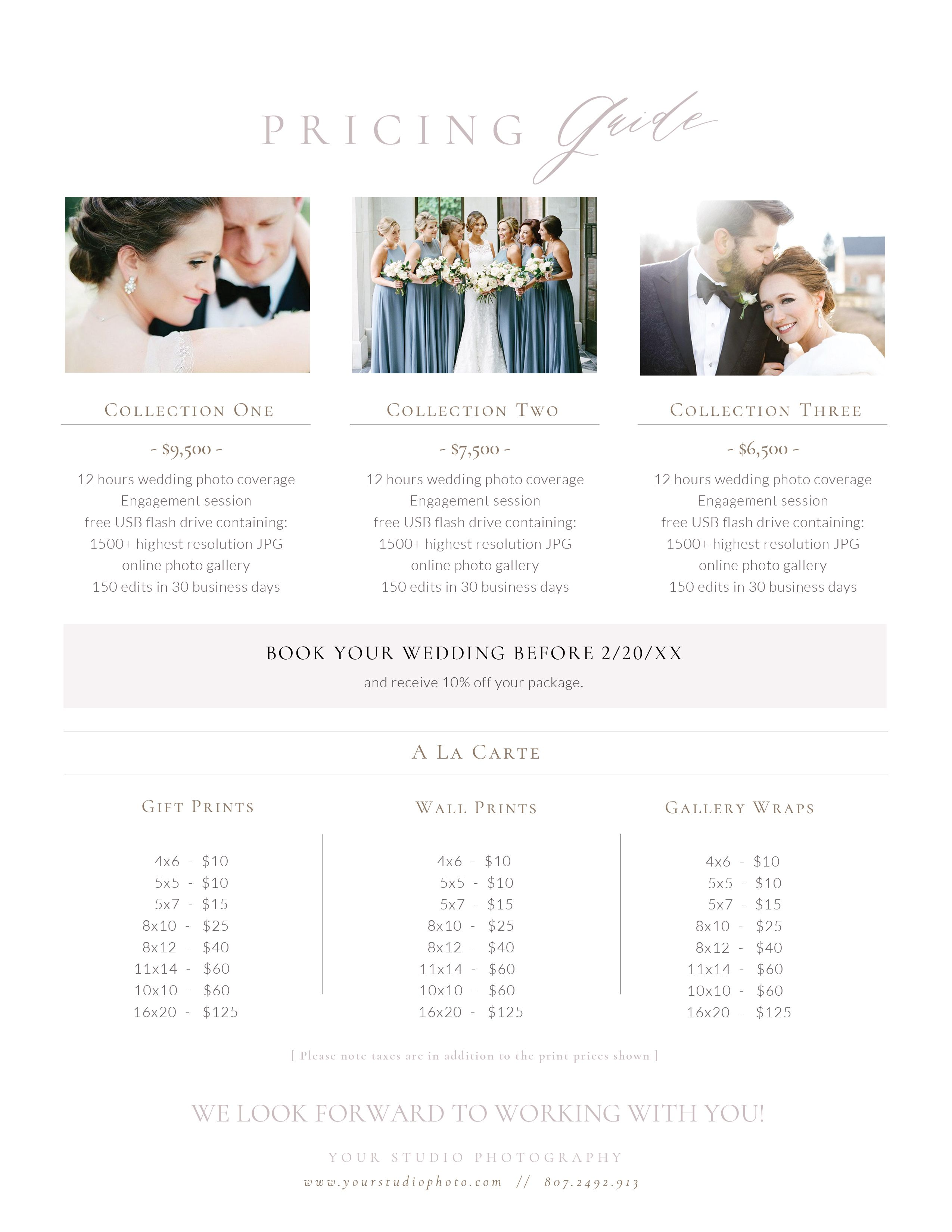 Wedding photography packages template