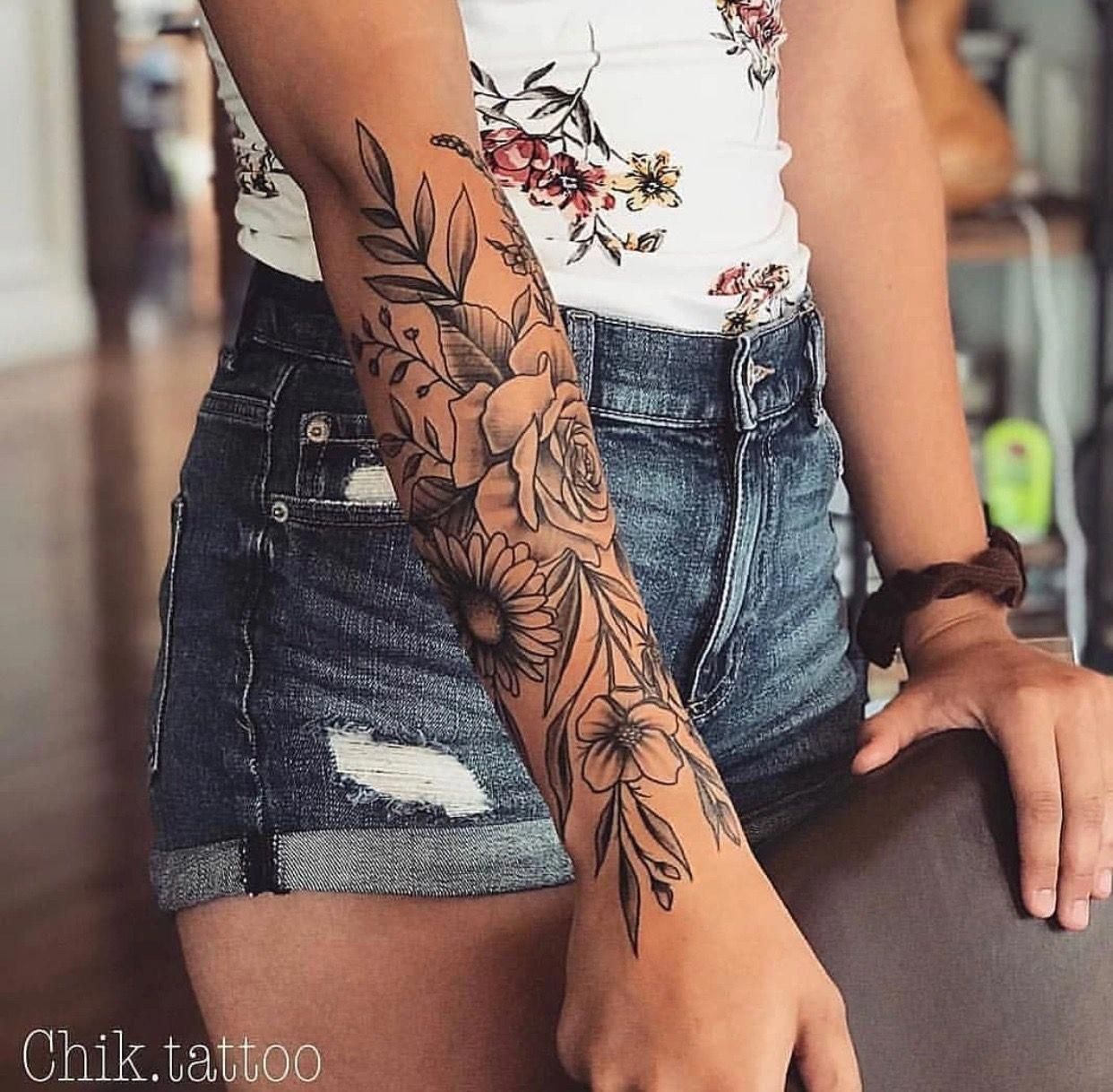 Half Sleeve Tattoos Designs Halfsleevetattoos Girlfriend Tattoos Floral Tattoo Design Arm Tattoos For Women