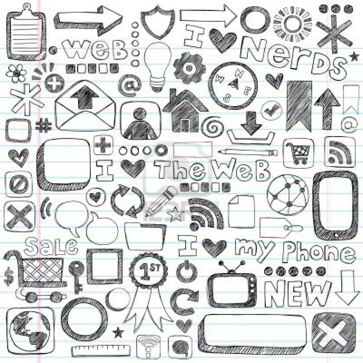 Web Computer Doodle Icon Set Back To School Style Sketchy Doodle Icon Notebook Doodles Doodles