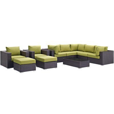 Outdoor Modway Convene Wicker 10 Piece Patio Conversation Set Peridot - EEI-2169-EXP-PER-SET