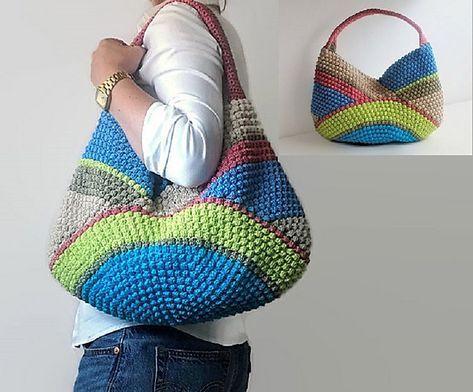 Multicolor crochet tote bag