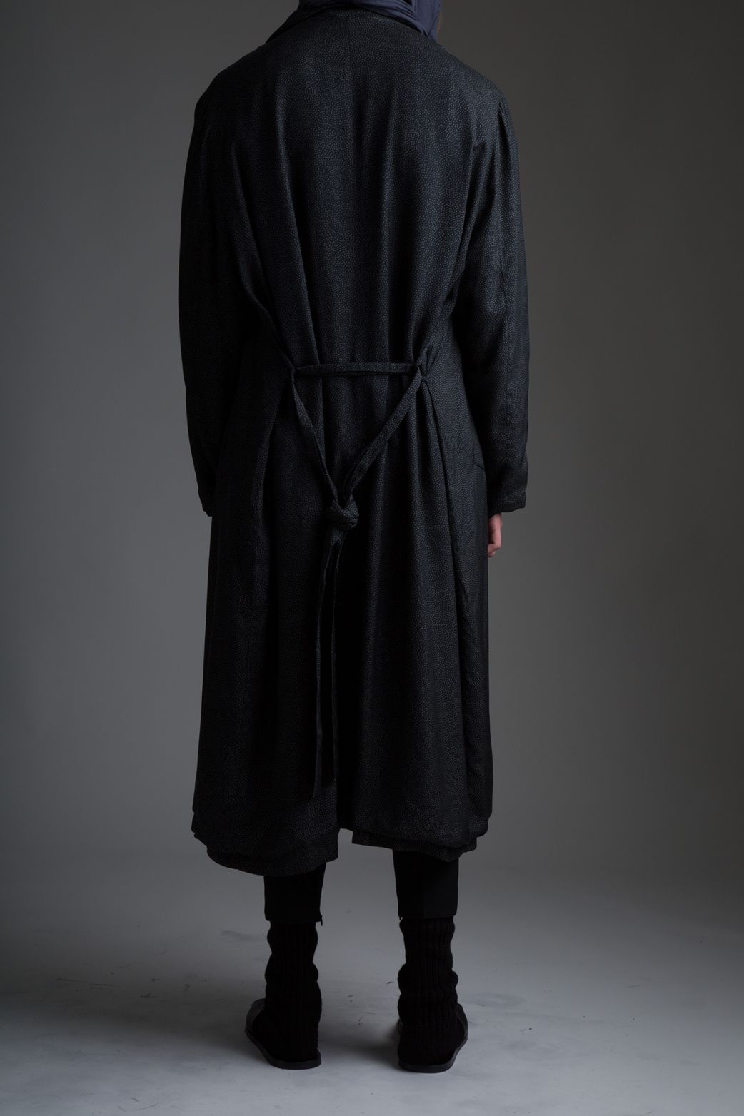 a841a391411 Vintage Men's Silk Trench Coat and Yves Saint Laurent Hooded Scarf, Marni  Pants. Designer Clothing Dark Minimal Street Style Fashion