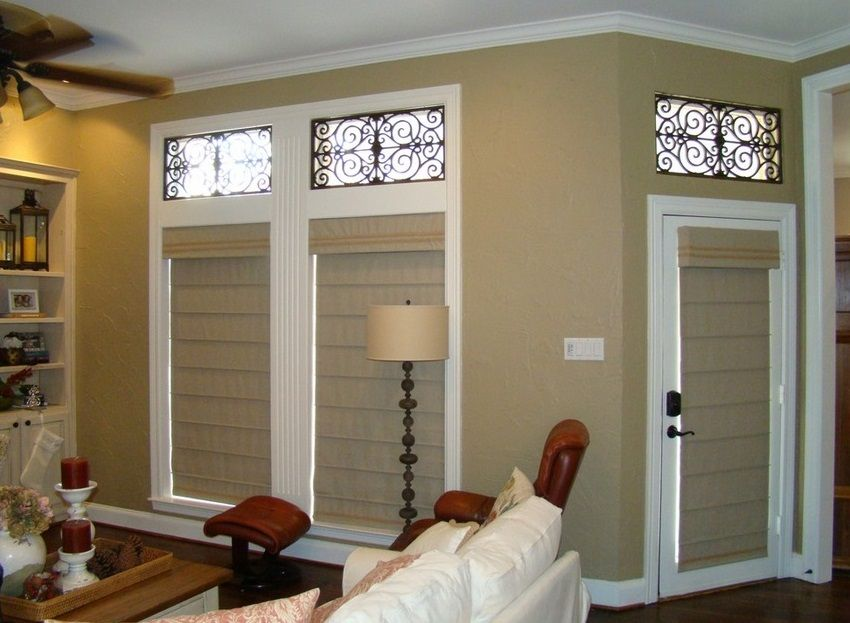 Faux Iron Over Transom Windows With Roman Shades