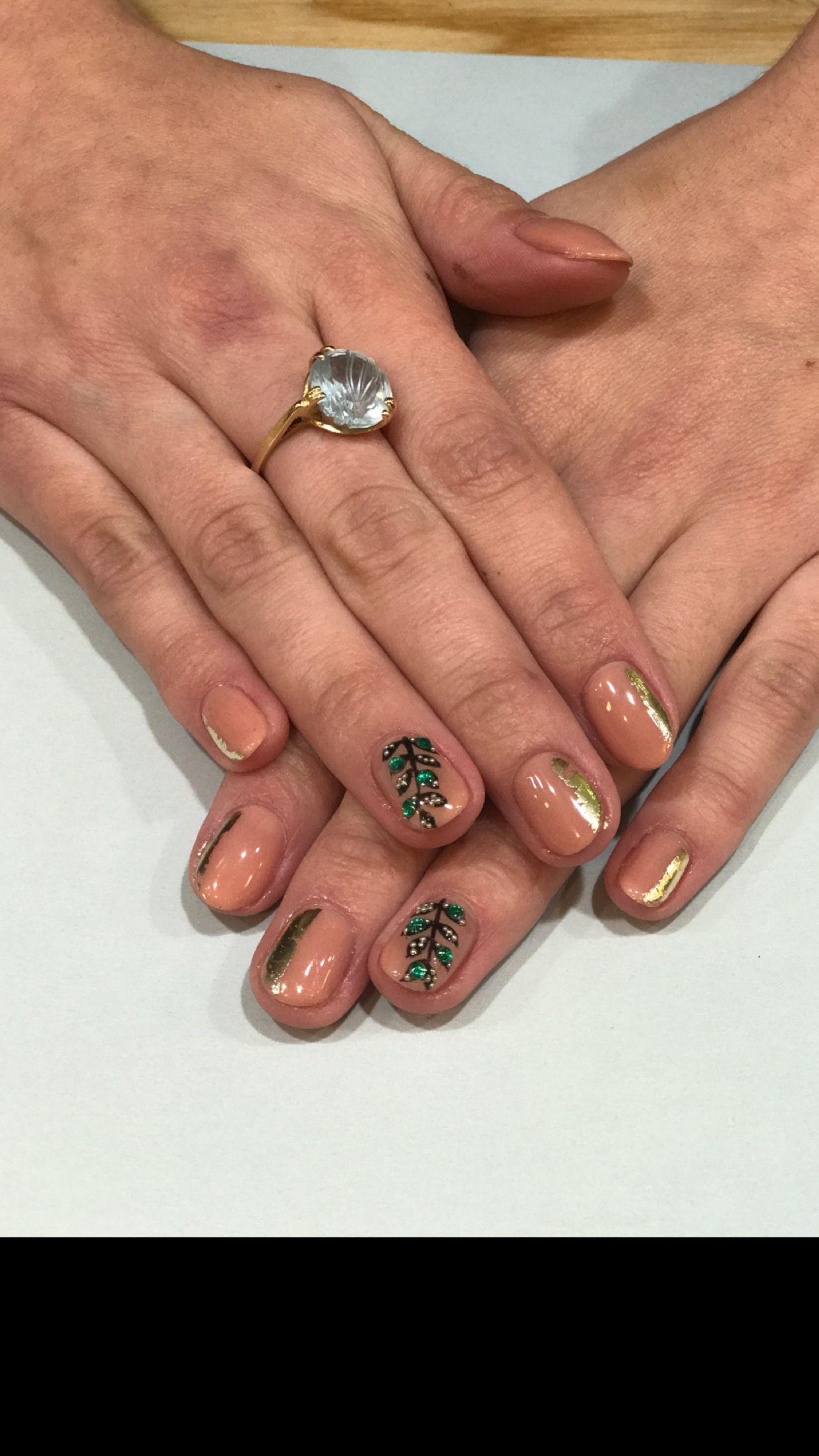 Gel mani with gold foil nail art! Gemstone nail designs! Follow ...