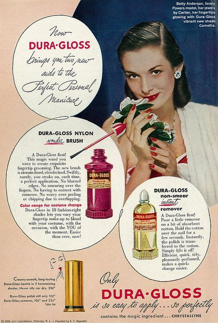 Cosmetics Ad, Dura-Gloss Nail Polish & Lipstick, with Powers Model Betty Anderson by classic_film on Flickr.