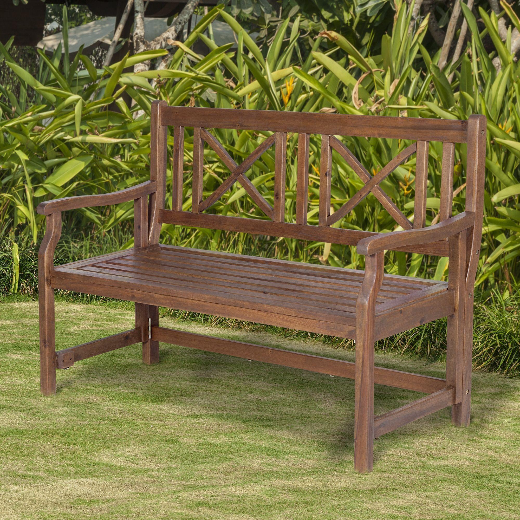 Super 48 Inch Dark Brown Acacia Wood Folding Patio Bench 48 Cjindustries Chair Design For Home Cjindustriesco