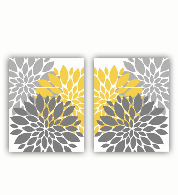 Grey and Mustard Yellow Wall Art Flower Bursts Floral Botanical Set ...