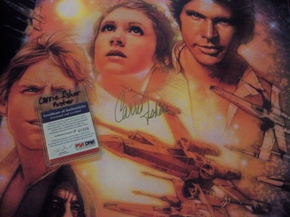 CARRIE FISHER - Princess Leia - SIGNED 24x36 STAR WARS POSTER - PSA/DNA CERT #PSAcertified