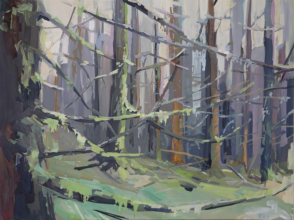 """""""Moss and Branches"""" Gouache on panel by artist Danna Ray. #UpriseArt"""