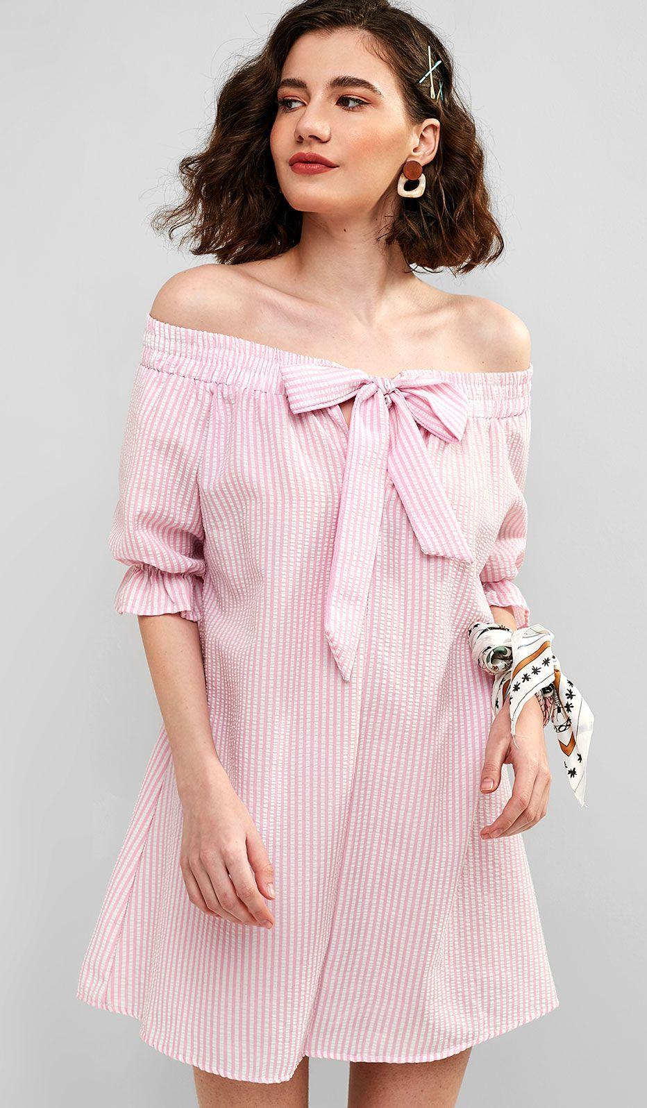 a2fa5a81efd6 Tie Front Stripes Off Shoulder Dress in 2019   2019 summer dresses