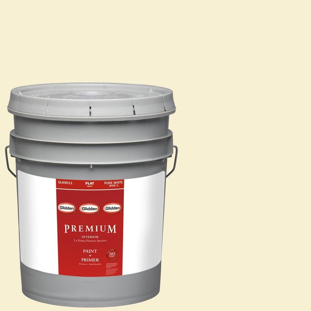 Glidden Premium 5-gal. #HDGY57 Spring Pear White Flat Latex Interior Paint with Primer