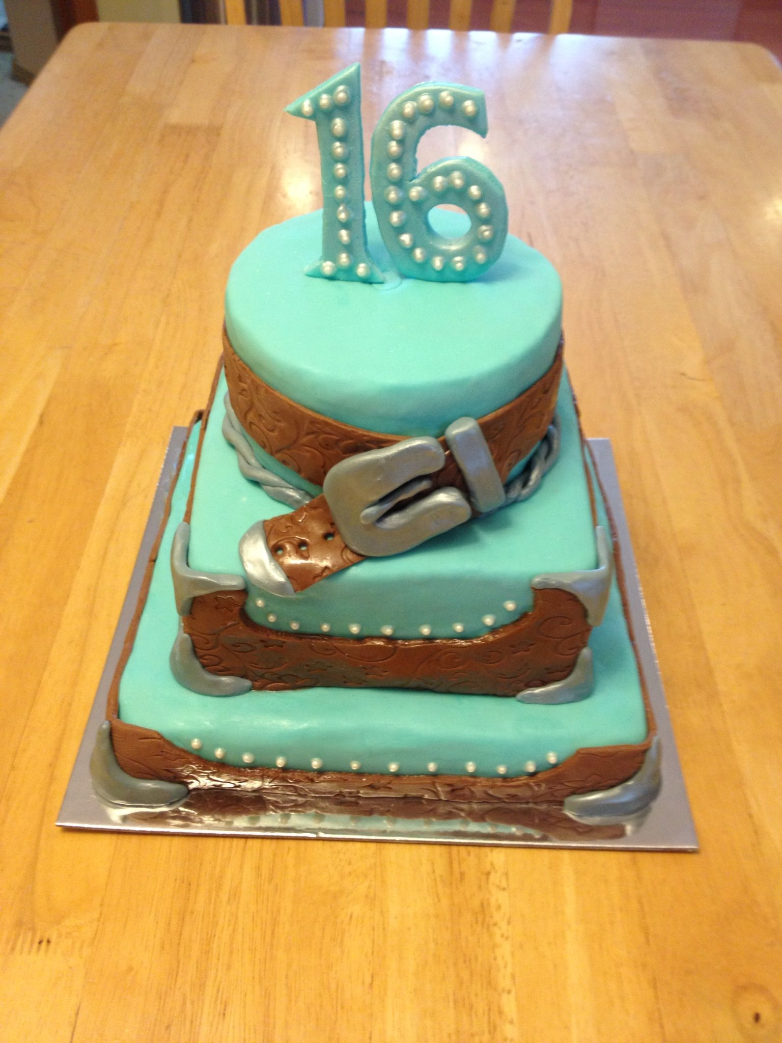 Sweet 16 Western Themed Cake