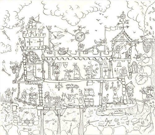 Medieval Castle Colouring Poster - Giant Size: 100 x 75 cm by Really ...