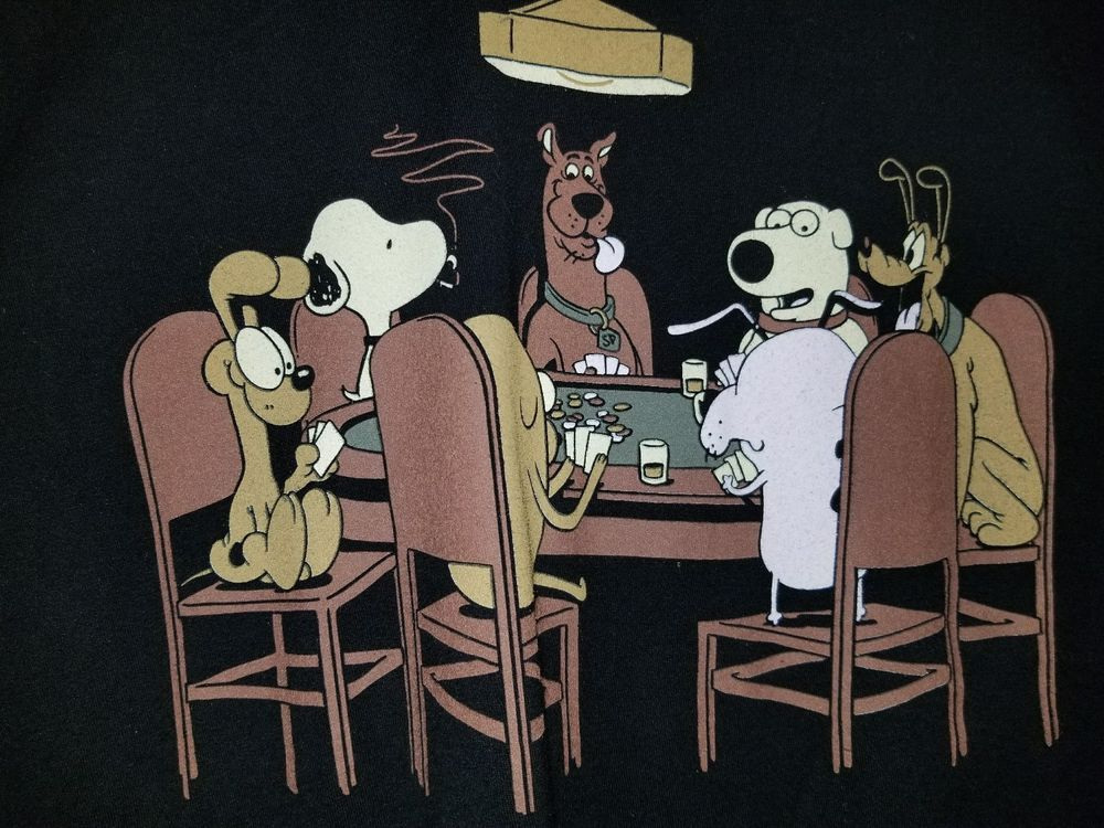 Scooby Doo Snoopy Pluto Odie Brian Dogs Playing Poker Black T