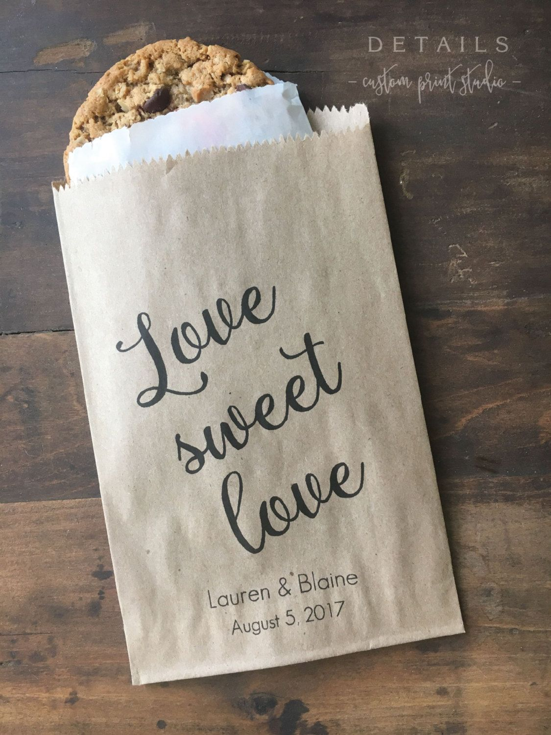 Wedding Cookie Bags Candy Buffet Sacks Custom Favors 25 Cake Recycled Brown Paper Personalized Printed Sack By Detailsondemand On Etsy