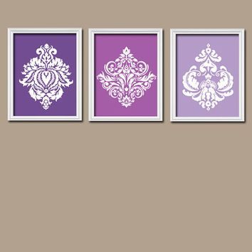 Damask Purple Wall Art Canvas Artwork Purple Shades Damask ...