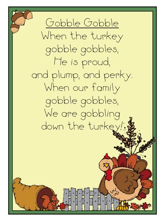 """""""Gobble Gobble"""" Thanksgiving poem - look for accompanying word work"""