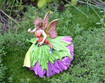 Fairy Garden Fairy in Teal holding a White Lily Fairy Gardens and