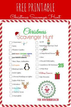 Give your Christmas light viewing and extra boost with a Christmas scavenger hunt free printable.