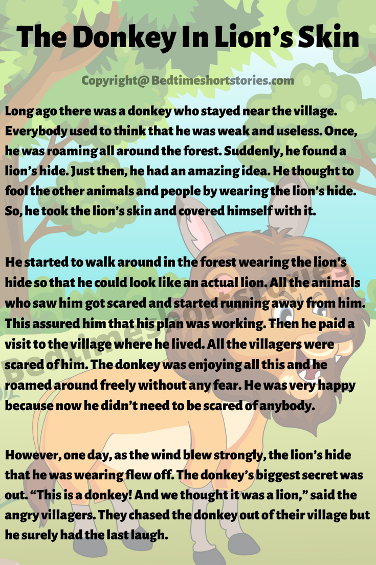 The Donkey In Lion S Skin In 2020 English Stories For Kids English Short Stories Moral Stories For Kids