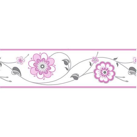 Fun4walls Cassidy Peel Stick Border Walmart Com Floral Wallpaper Sticker Decor Wall Appliques