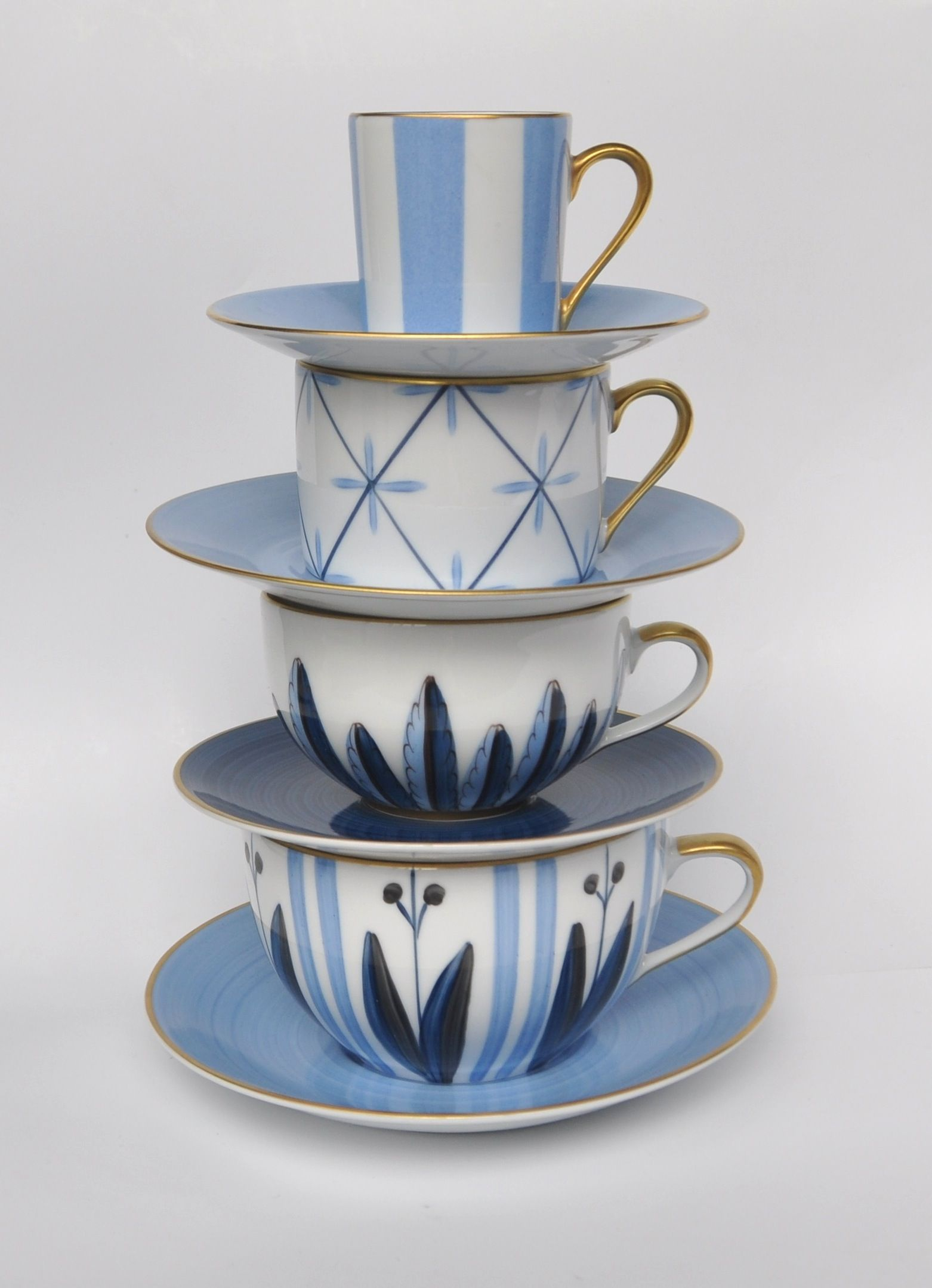 Blue Cups Tea And Coffee Cups Porcelain Of Limoges Hand Painted Marie Daage
